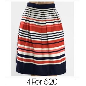 DownEast Navy Orange Striped Skirt Womens Small